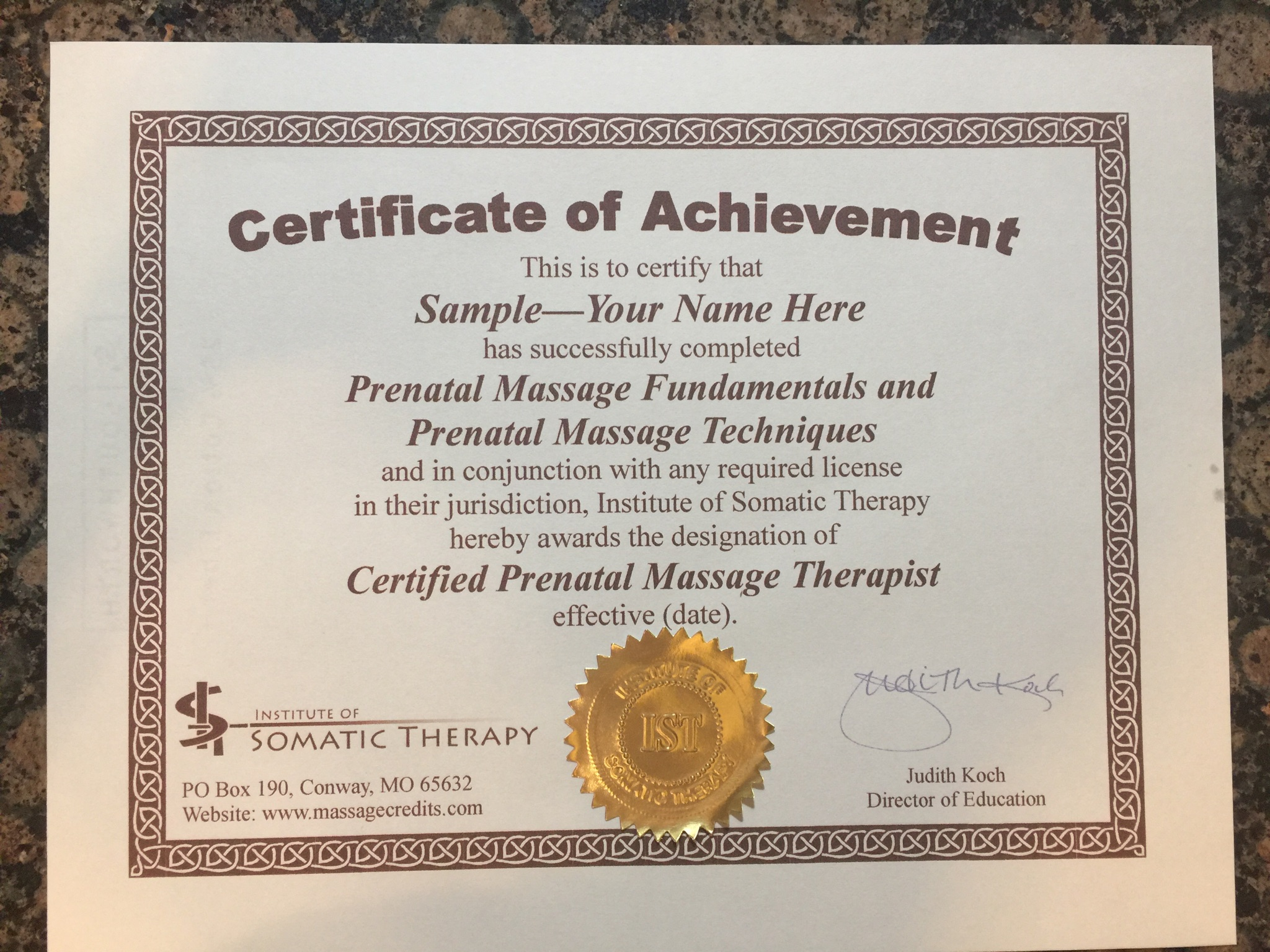 Prenatal certification package here is a sample gold embossed premium certificate wording may be different on other courses xflitez Image collections